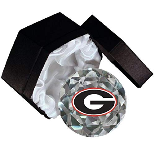 NCAA University of Georgia Bulldogs Logo on a 4-Inch High Brillance Diamond Cut Crystal Paperweight