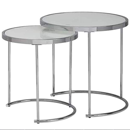 Fairmont Park Choy 2 Piece White Safety Glass Tabletop Nest of Tables