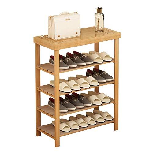 El almacenamiento en zapatero es simple y práctico Zapato estante de bambú almacenamiento rack zapato cambio de taburete espacio ahorro de espacio 5 capas zapato estante zapato zapato dormitorio sala
