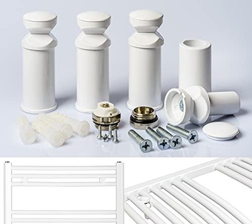 Halterung für Badheizkörper in weiss chrom und schwarz geeignet für gerade und gebogene Heizkörper (1. weiß)