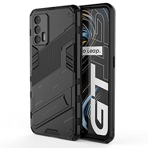 Liner Hülle für Realme GT 5G, [Militärische Stoßfest Hülle] Ultra Dünn Harter PC Sanft TPU Schutzhülle Handyhülle mit Stabilem Faltbar Ständer für Realme GT 5G - Schwarz