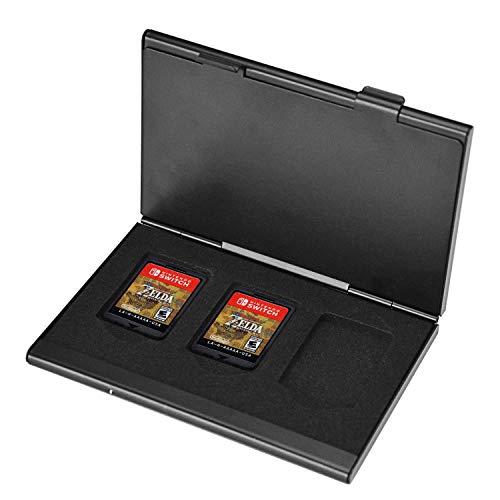 NEWZEROL Ersatz für Nintendo Switch/Nintendo Switch Lite Card Case, Nintendo Switch Hülle Metall Tasche Tasche Aluminium Game Storage Card Holder Box für 6 Game Cards geeignet mit Schwarz
