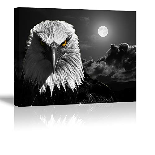Cool Eagle Wall Art Decor for Bedroom, PIY Fierce Bald Eagle Under Moon Night Picture, Awesome Black and White Canvas Prints Decor Artwork (1' Thick, Waterproof, Bracket Fixed Ready to Hang)