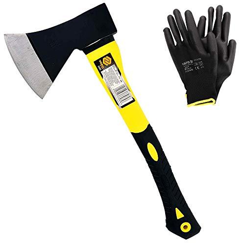 Ascia spaccalegna professionale VOREL (800g), accetta spaccalegna in fibra di vetro e manico pvc con kit guanti da lavoro in nylon neri YATO