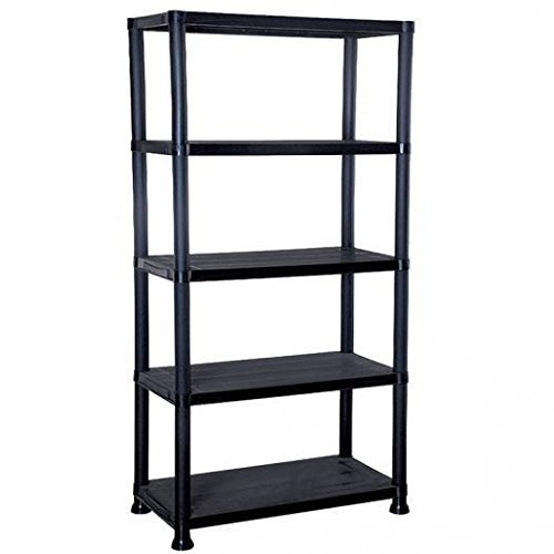 ManMax NEW 5 TIER BLACK PLASTIC GARAGE STORAGE SHELVING SHELVES STORAGE UNIT SHED SHELF - Next Day Delivery