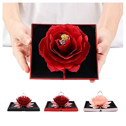 KAERMA Folding Rotating Rosen-Hochzeit Ring-Box Schmuck-Display-Box-Verpflichtungs-Geschenk-Kasten-Hochzeit Favors Jewelry Box Geschenk for Liebhaber Modespeicher (Color :...