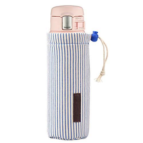 象印 水筒カバー、Thermosサモース、、Tigerなどの水筒に対応 ボトルカバー ズック ストラップがある 断熱水筒カバー 保護ケース サーモスJNL 500/JNO500 500ml 、 SM-SA48/ JC48 KB-48 480ML) - 青