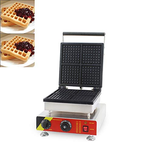 Hanchen Rectangle Waffle Make Machine Electric Square Belgian Waffle Maker 4Pcs Non-stick Temperature and Time Control Waffle Iron for Restaurant Bakery Snack Bar Home Kitchen Commercial Use(Cake Size: 4.4×4.4×0.8in) (110v 60Hz American Plug)