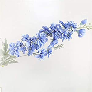 TRRT Fake Plants Delphinium Flower Silk Artificial Flowers, for Home Wedding Decoration Fake Flower