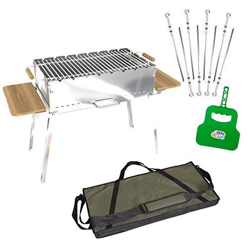 4big.fun houtskoolbarbecue, inklapbaar, van roestvrij staal, 2 mm, incl. grillrooster, 8 spiesen, grillvakken en tas, grill met zijplateaus van natuurlijk hout, mangal voor 8 spiesen, voor sjasliek, BBQ (klapgrill)