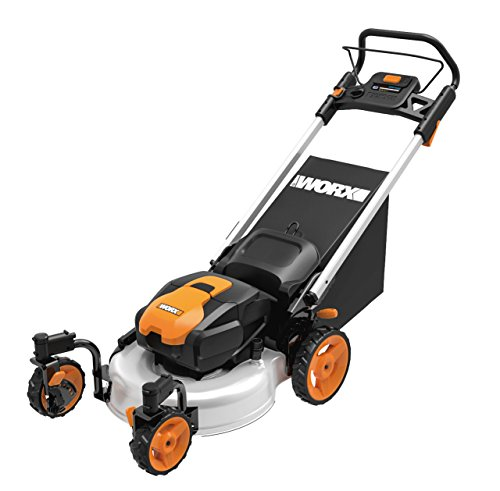 WORX WG771 56V Lithium-Ion 3-in-1 Cordless Mower with Locking Caster Wheels, 19-Inch, (2) Batteries and Charger Included