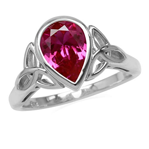 Silvershake 2.1 CT Simulated Pink Tourmaline 925 Sterling Silver Triquetra Celtic Knot Ring Size 6