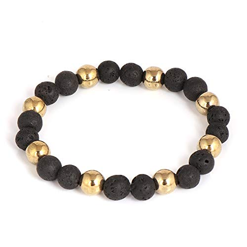 Black Lava With Gold Pyrite Semi Precious Natural Gemstone Stretch Beaded Bracelet 7.5 Inch Mens Boys Gift Idea