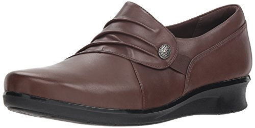 Price comparison product image Clarks Women's Hope Roxanne Loafer,  Brown Leather,  8 W US