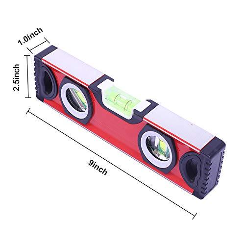 Torpedo Level, Spirit Level 3 Bubble Plumb/Level / 45 Degree Level Degree Torpedo Magnetic Level Bubble Measuring Tool (9inch, Red)