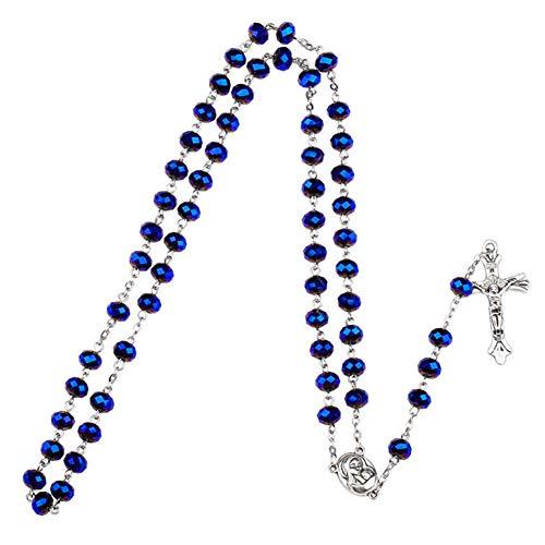 Yuccer Collar de Rosario, Católico Collar Perlas Rosario Suelo Santo Colgante Cruzado...