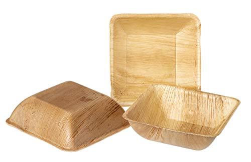 IMSCO Vaisselle jetable en feuille de palmier | 25 bols à soupe carrés 15 x 15 cm | Qualité supérieure non traitée respectueux de lenvironnement biologique et compostable