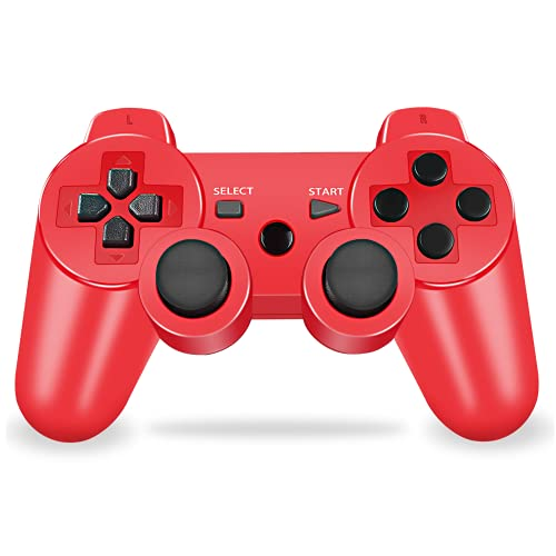PS-3 Controller Wireless, PS-3 Joystick, PS-3 Remote, Wireless PS-3 Controller Double Shock Gamepad Compatible for Play-station3, Coming with Skin Cover,Thumb Grips and Mini USB Cable (Red)