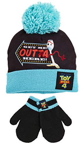 Disney Toy Story 4 Hat and Gloves Set With Forky, Winter Hats For Boys and Girls With Super Soft Blue Pom Pom, Warm Comfortable Beanie Hat Set, Gift Idea For Kids