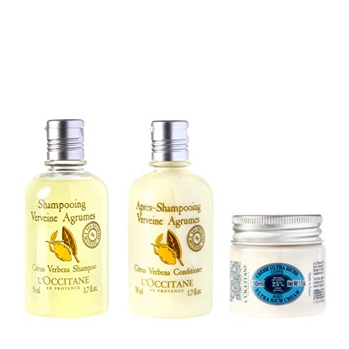 L'Occitane Body & Hair Care 3-piece Travel Kit with Body Cream, Shampoo and Conditioner