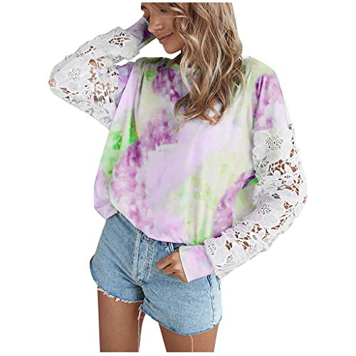 Purchase Dosoop Women Fashion Tie Dye Print Lace Long Sleeve Square Neck Casual Top Shirts Blouse Sweatshirt Jumper Pullover