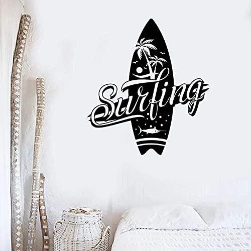Calcomanía De Pared De Surf Club De Surf Logotipo De Tabla De Surf Letrero Vinilo Etiqueta De La Ventana Palmera Arte Decoración Interior Deporte Extremo Mural 30X33 Cm