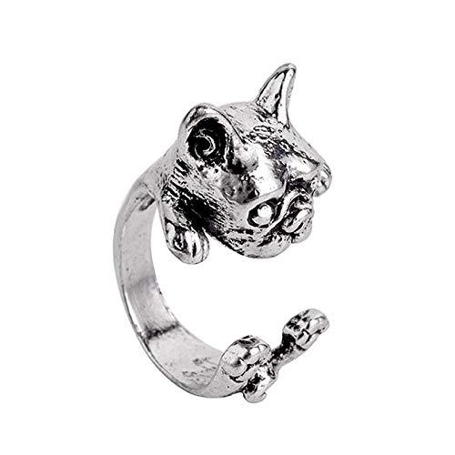 EzzySo Puppy Bulldog Ring, Americana Retro Lindo Lindo Anillo Abierto Anillo de Anillo de Anillo (2 Piezas)