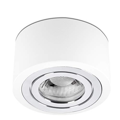 lambado® LED Aufbaustrahler IP44/Deckenstrahler Set inkl. 230V 5W Spots dimmbar - Wasserschutz für Bad & Außen - flache Aufbauleuchte für Feuchtraum in weiss