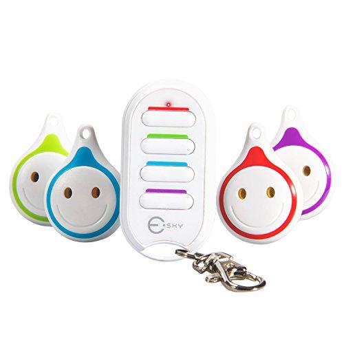 Esky Schlüsselfinder, Wireless Key Finder RF Sachenfinder Sender mit Empfänger LED Taschenlampe Tonsignal Licht Lichtzeichen (Weiß)