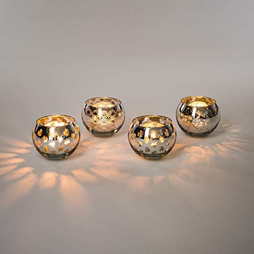 Teelicht-Gläser Set Glas inkl. Teelichter - Kleine edle Teelicht Kerzen-Halter mit Verzierungen - Windlichter Kerzenglas - Geschenk Dekoration für Hochzeit, Geburtstag, Weihnachten (Silber 4er Set)