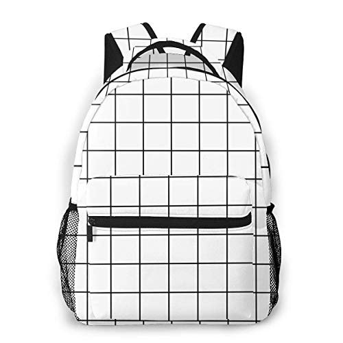Lawenp School Backpacks Grid Stripe Pattern for Teen Girls&Boys 16 Inch Student Bookbags Laptop Casual Rucksack