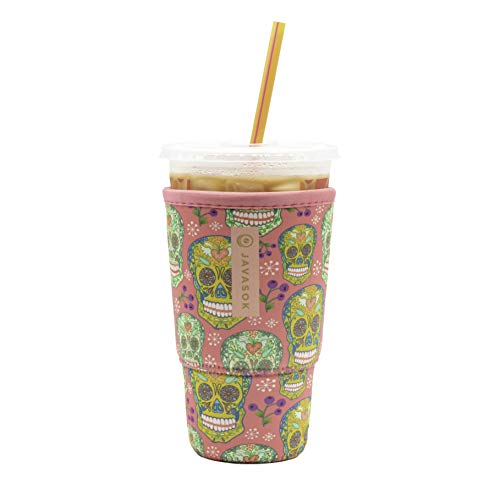 Java Sok Reusable Iced Coffee Cup Insulator Sleeve for Cold Beverages and Neoprene Holder for...