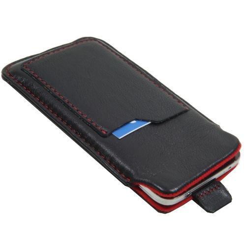andyhandyshop Echtleder Tasche für Smartphone simvalley Mobile SPX-34, Etui Hülle Slim Case mit Kreditkartenfach