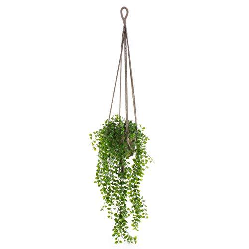 artplants.de Künstliche Blumenampel SILIJA, Kletterfeige, grün, 80cm - Deko Hängepflanze - Zierspargel Ampel