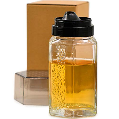TOSSOW Glass Honey dispenser Oil Bottle Leakproof Condiment Container Oil Vinegar Cruet with Pourers and Funnel Olive Oil Carafe Decanter Non-Drip Spout for Kitchen Cooking 350ml/12oz Black