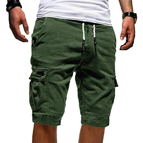 Tomwell Uomo Pantaloni Corti Bermuda Cargo Pantaloncini Uomo Cotone Lavoro Pantaloni Tasconi con Elastico Pantofole Estive Casual Pantaloncino Sportivi (Medium, Verde)