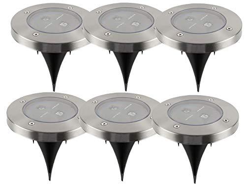 6er-Set LED Solarstrahler, Edelstahl, Dämmerungssensor, Erdspieß IP44