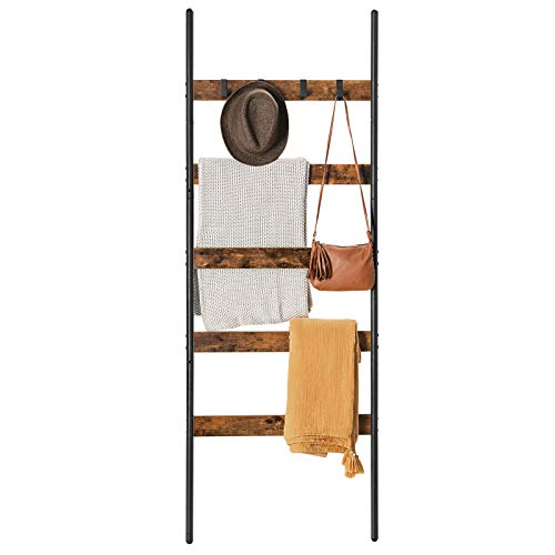VASAGLE 5-Tier Blanket Ladder Shelf, Wall-Leaning Rack with 4 Hooks, Steel Frame, 23.6 Inch Wide, for Blankets, Scarves, Industrial Style, Rustic Brown and Black ULLS011B01