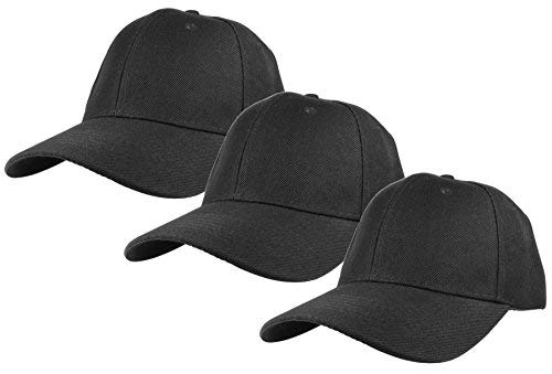 Gelante Plain Blank Baseball Caps Adjustable Back Strap 3 PC-001-Black