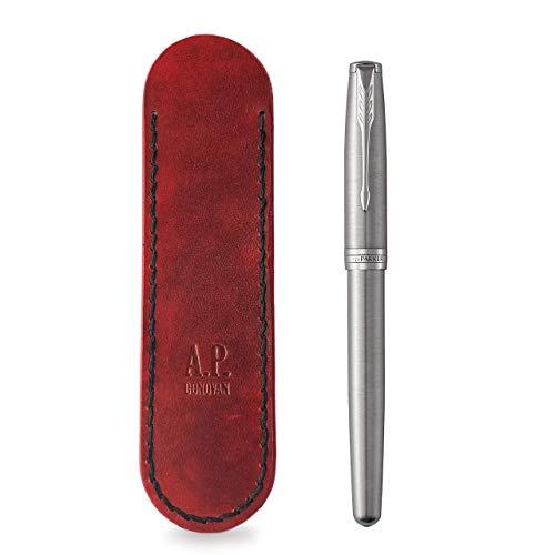 Federmäppchen - Stifte Etui aus Leder - Stiftetui Handgefertigt in der A.P. Donovan Manufaktur (Rot)