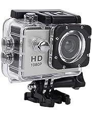 VBESTLIFE Sport Action Camera, waterdichte 1080p onderwatercamera met 140° groothoeklens, 900mAh batterij, onderwater 30m (zilver)