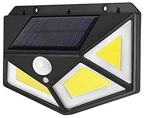 ZJJZ Luces solares al aire libre, iluminación de cuatro ángulos de 270º, 100 luces LED de seguridad con sensor de movimiento, impermeable, 3 modos para jardín, IP65, exterior, 1 paquete