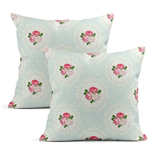 Zynii Set di due federe decorative a pois shabby chic rosa fine divertente Pop Art 40,5 x 45,8 cm federa per cuscino per casa, auto, divano, ufficio, sala riunioni