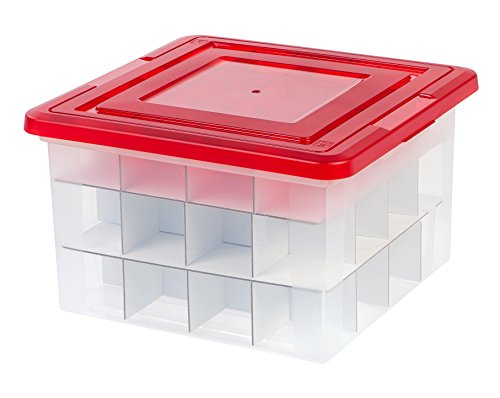 IRIS USA Inc 139745 37 Quart Holiday Storage Box with Dividers 1 Pack Red 4 Piece