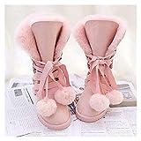 BMWY Hermosos y elegantes zapatos de nieve cálidos de piel de oveja genuina 100% lana natural para mujer, zapatos de invierno para mujer (color: rosa como la imagen, tamaño: STYLE12)