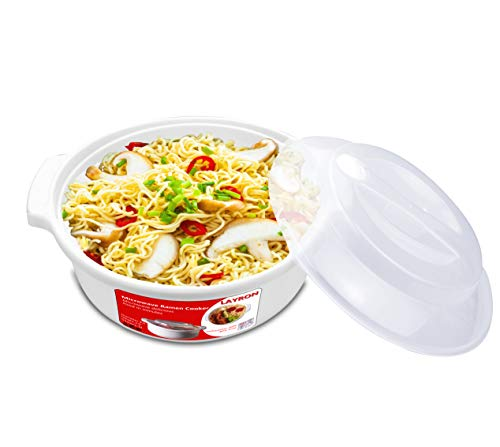 Large Microwave Ramen Cooker Noodle or Soup Bowl Easy Mac Perfect for Breakfast, College Dorm...