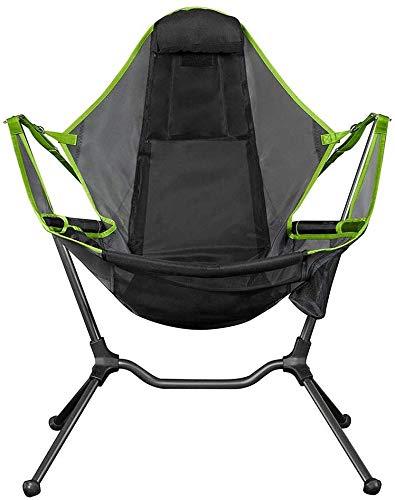 DYHQQ Luxus-Campingstuhl mit Liege, tragbarer Hochleistungs-Campingklappstuhl für Erwachsene, Kinder, kompakter Schaukelstuhl mit Tragetasche und Kissen zum Angeln, Reisen