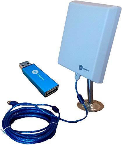 Antena Exterior WiFi USB 10m Largo Alcance RT3070 Amplificador USB. Largo Alcance con Amplificador inalambrico Compatible portatiles Windows 10. Evita Problema desconexion Wonect N4000A
