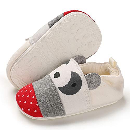 TIMATEGO Toddler Baby Boys Girls Shoes Non Skid Slipper Sneaker Moccasins Infant First Walker House Walking Crib Shoes(0-24 Months) 9-12 Months Infant, 01 Beige Panda Baby Slipper
