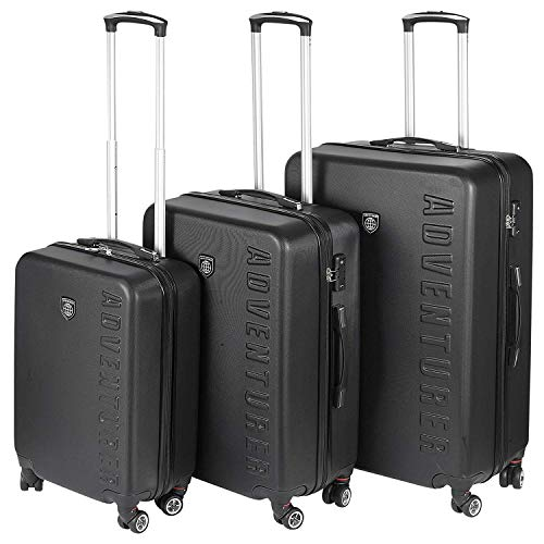 Adventurer 3 Piece Luggage Suitcase Set - Hand Luggage + Medium Suitcase + Large Check in Hold Luggage, Lightweight, 4 Spinner Wheels, TSA Combination Lock, ABS Hard Shell, Extendable Handle, Black